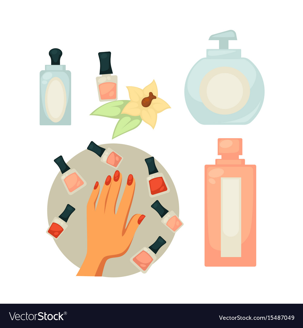 Spa salon equipment set for painting nails Vector Image