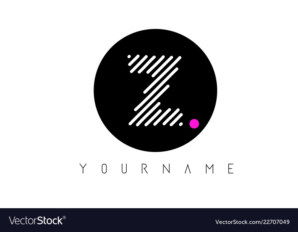 Z Letter Logo Design With White Lines And Black Vector Image