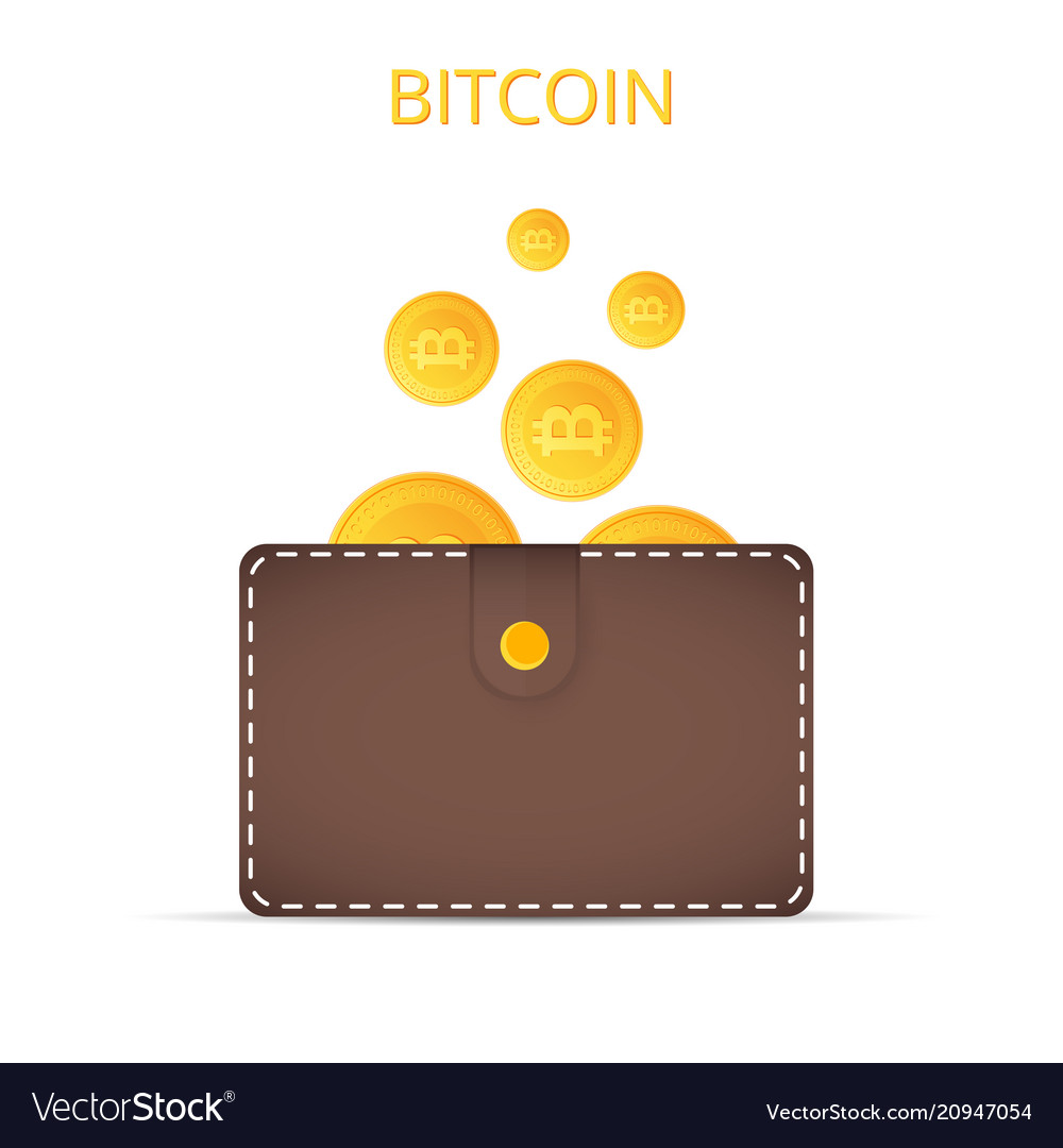 Bitcoins in the wallet coins of gold color