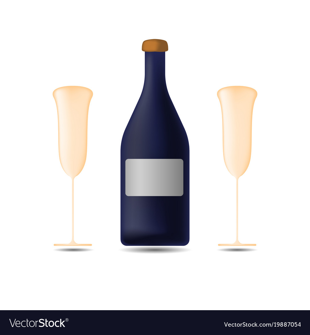 Bottle of champagne with two glasses