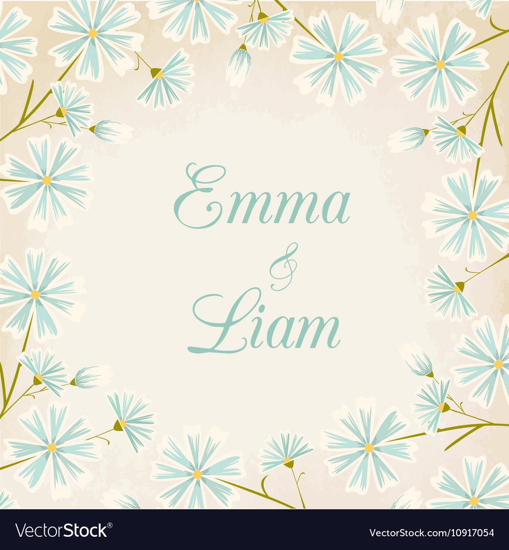 Daisy flowers round border wedding card template vector image izmirmasajfo