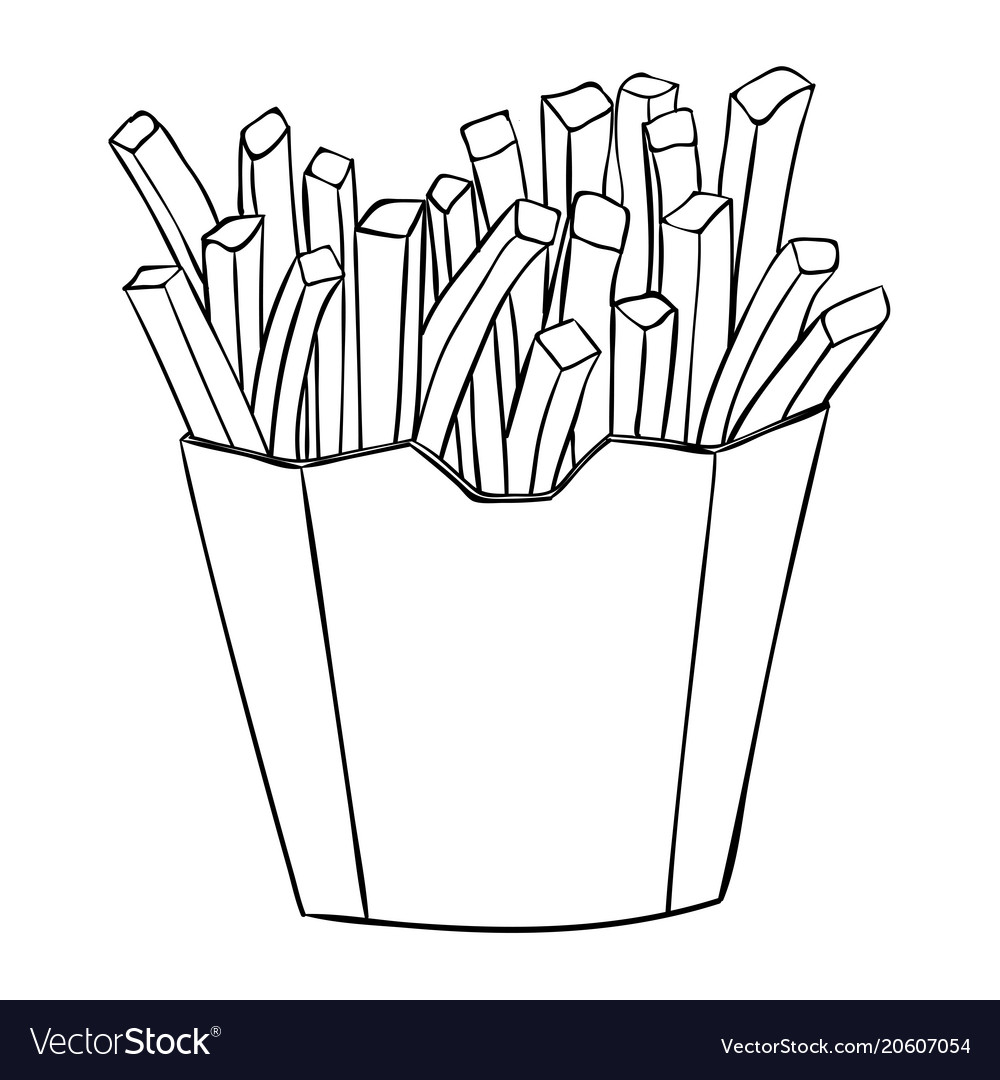 French fries in a paper cup black and white