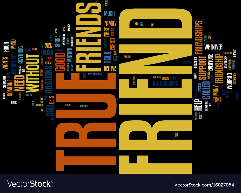 Friendship who is a true friend text background vector image