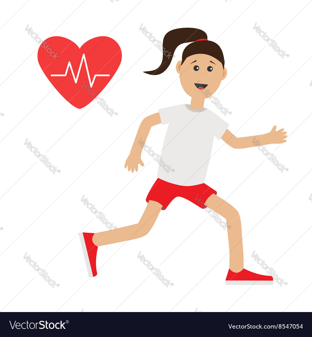 Funny cartoon running girl Heart beat icon Cute