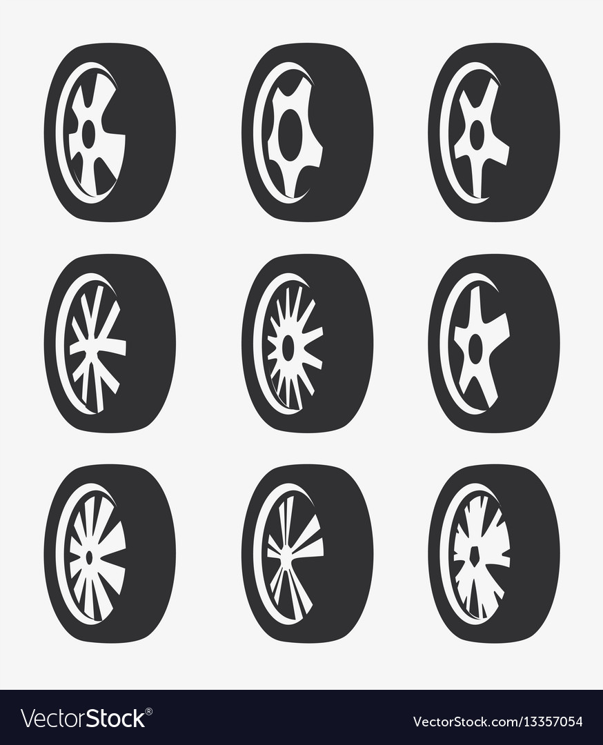 Isolated black and white color alloy wheels logo