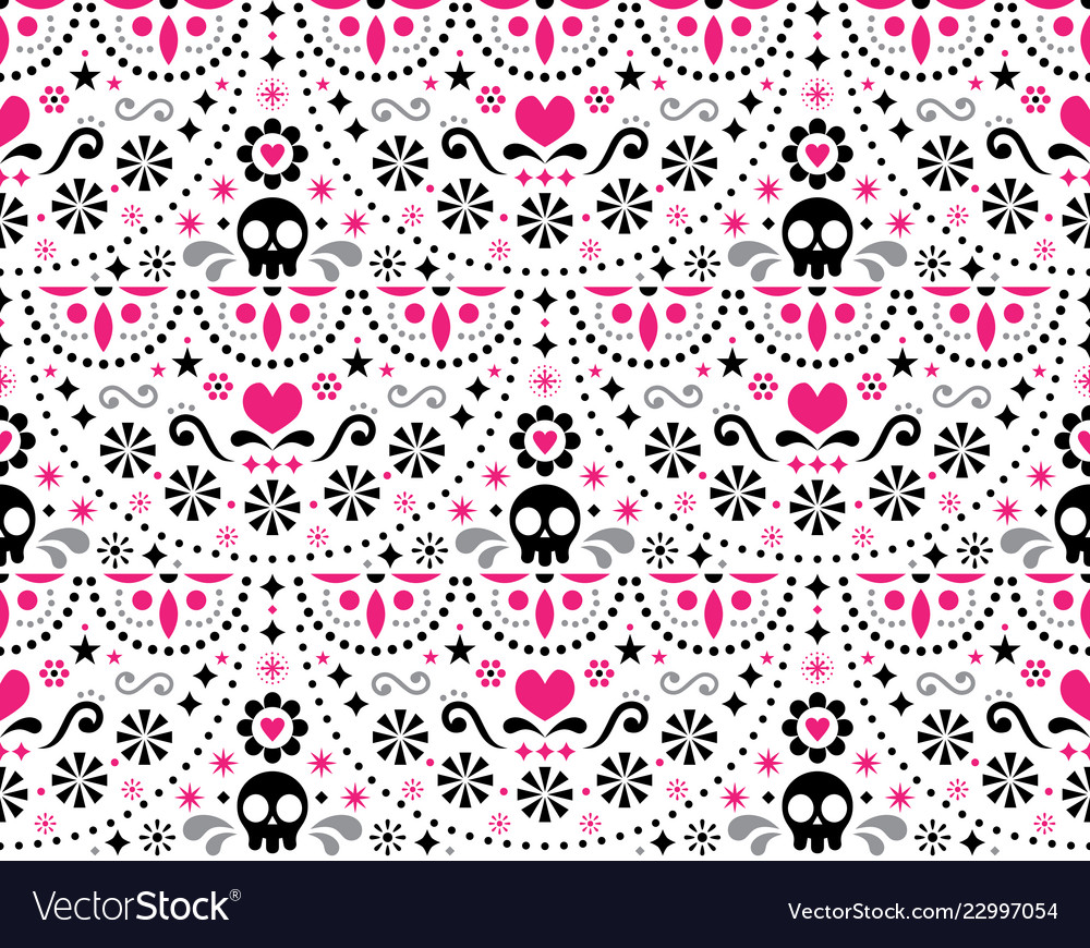 Mexican folk art seamless skull pattern