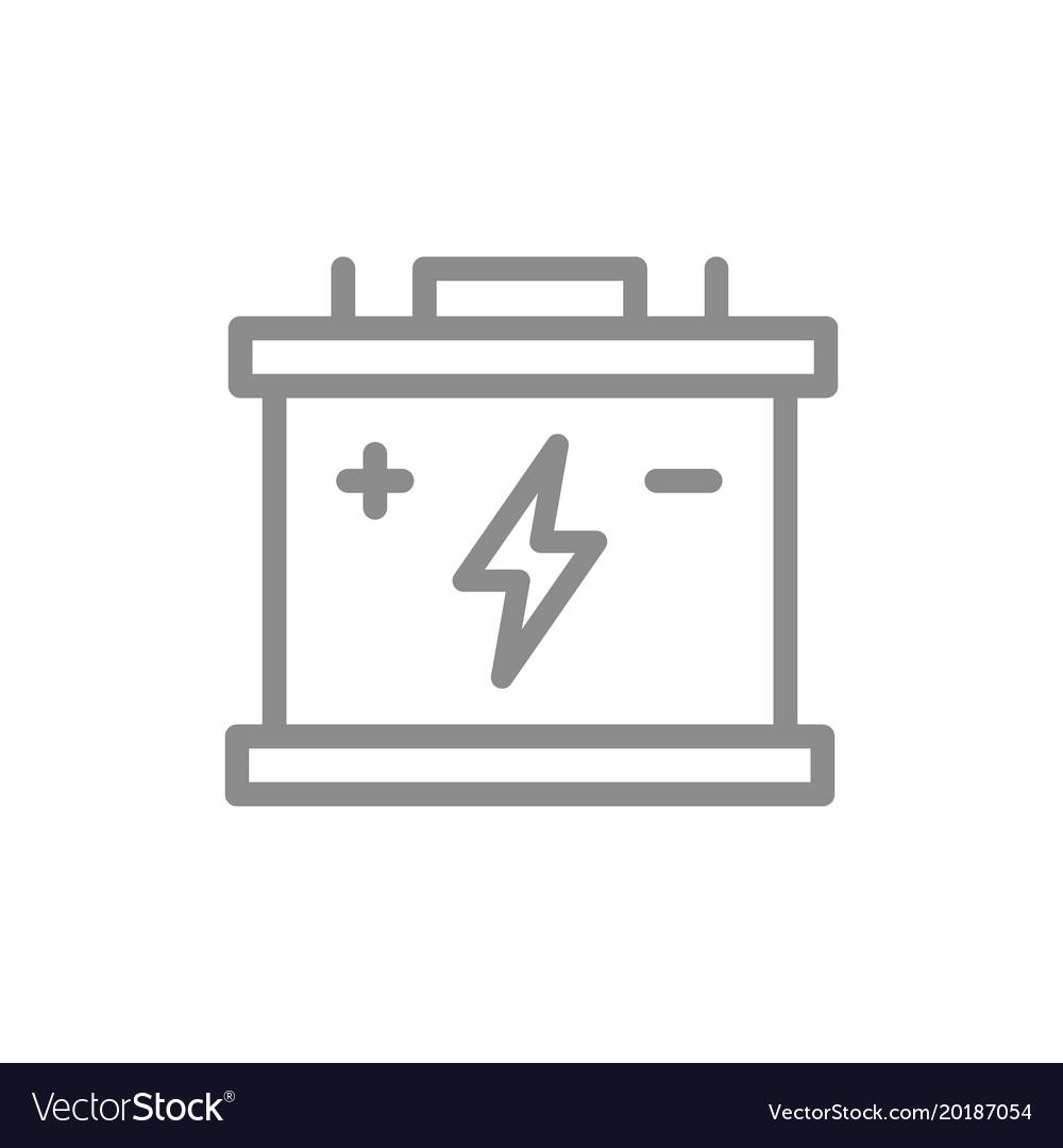 Simple car battery accumulator line icon symbol vector image