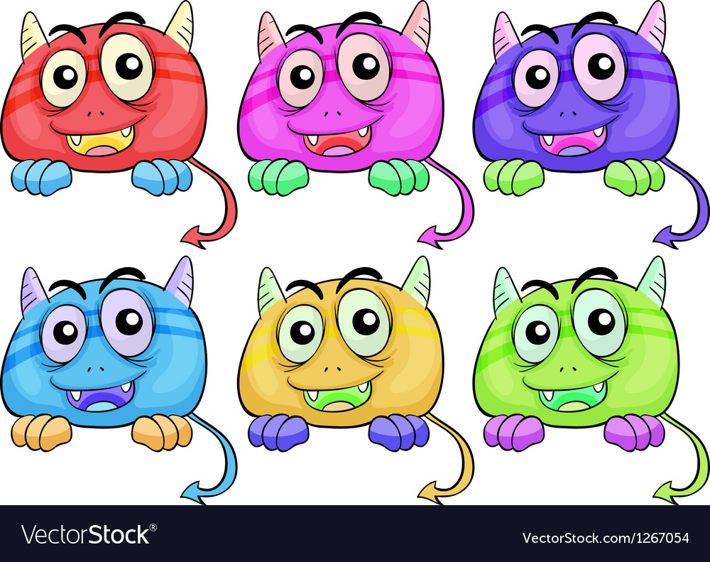 Six colorful monster heads