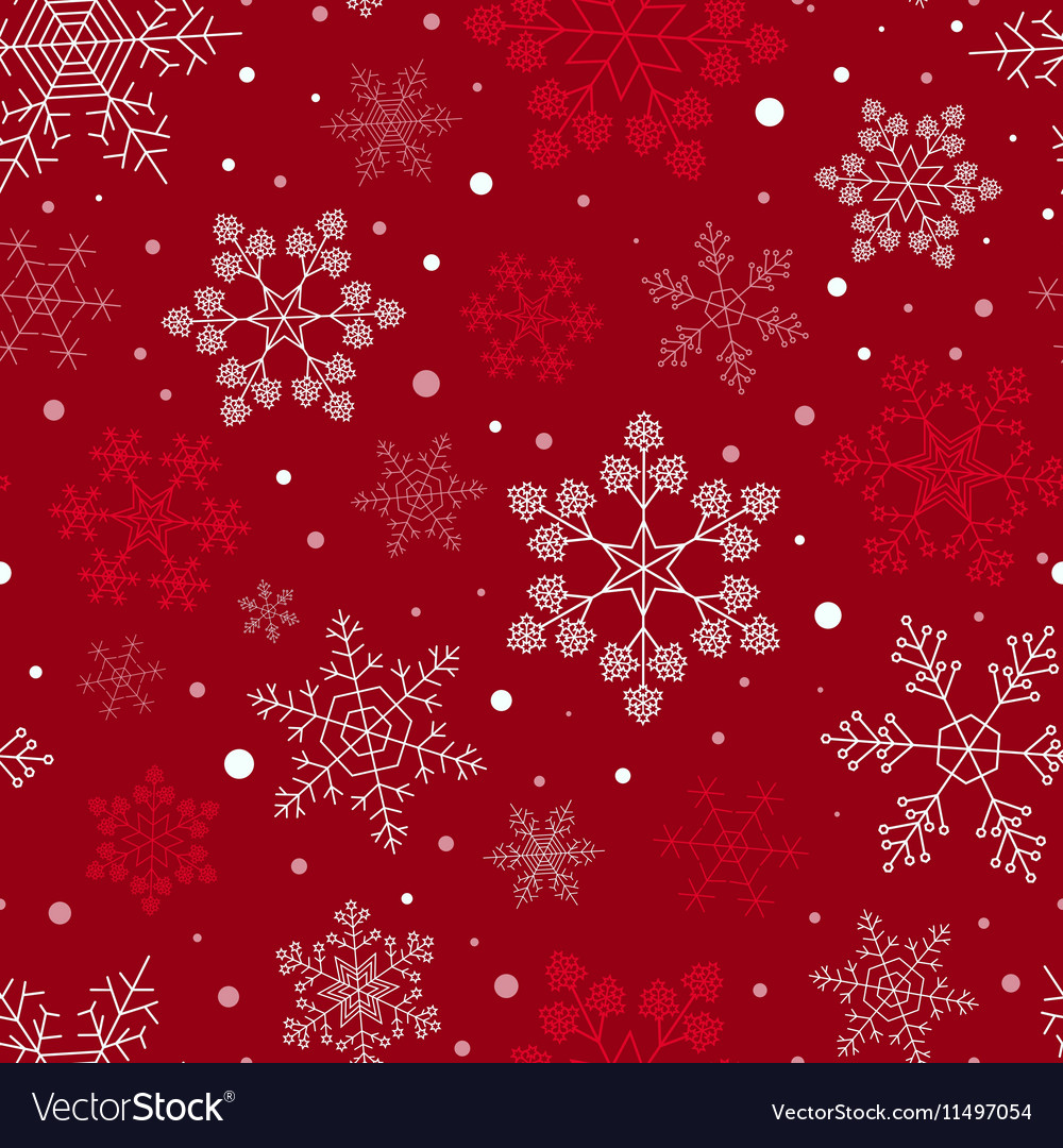 Snowflake seamless pattern Vintage outline version