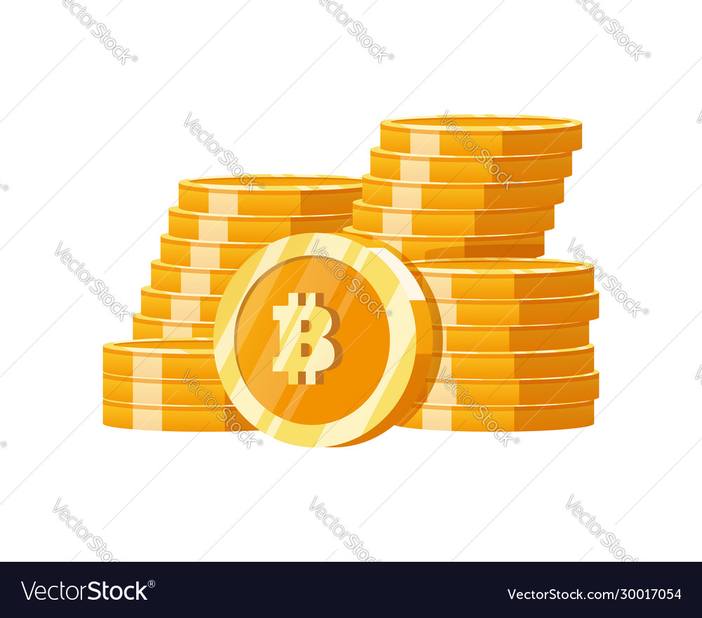 Stack mountain gold bitcoins digital money