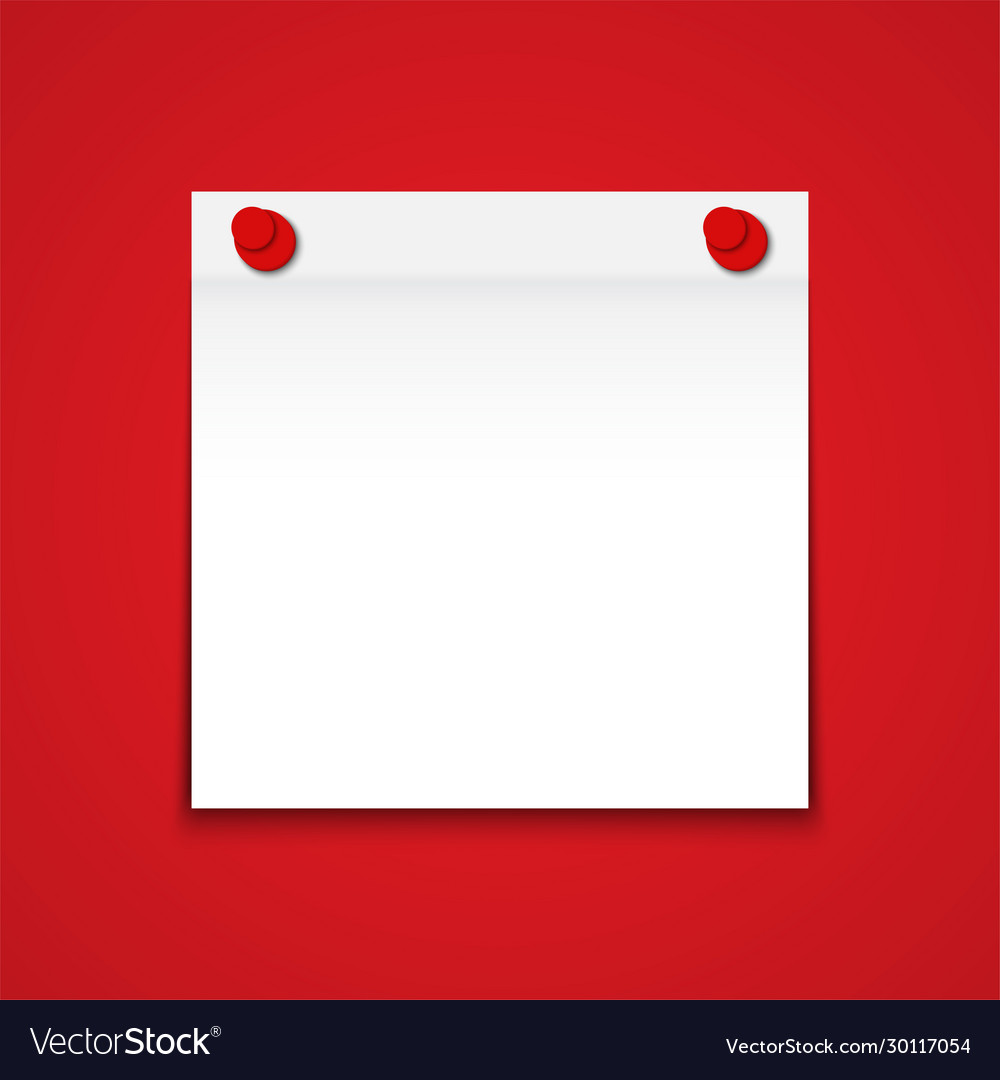 White blank paper note on red background
