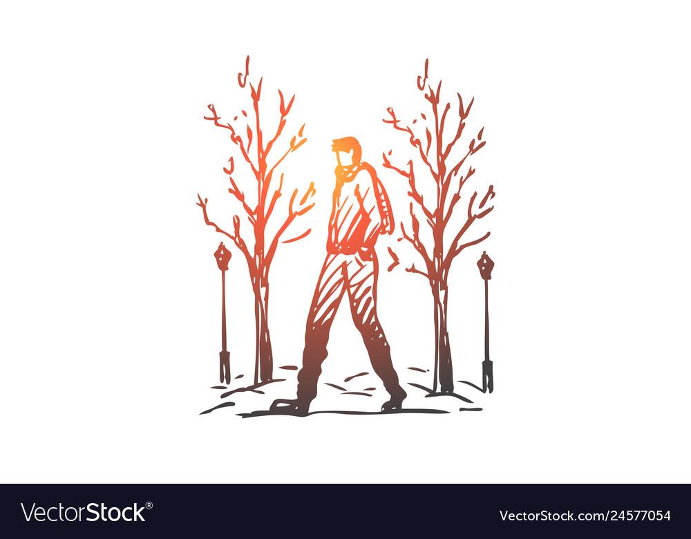 Winter park man walking season concept