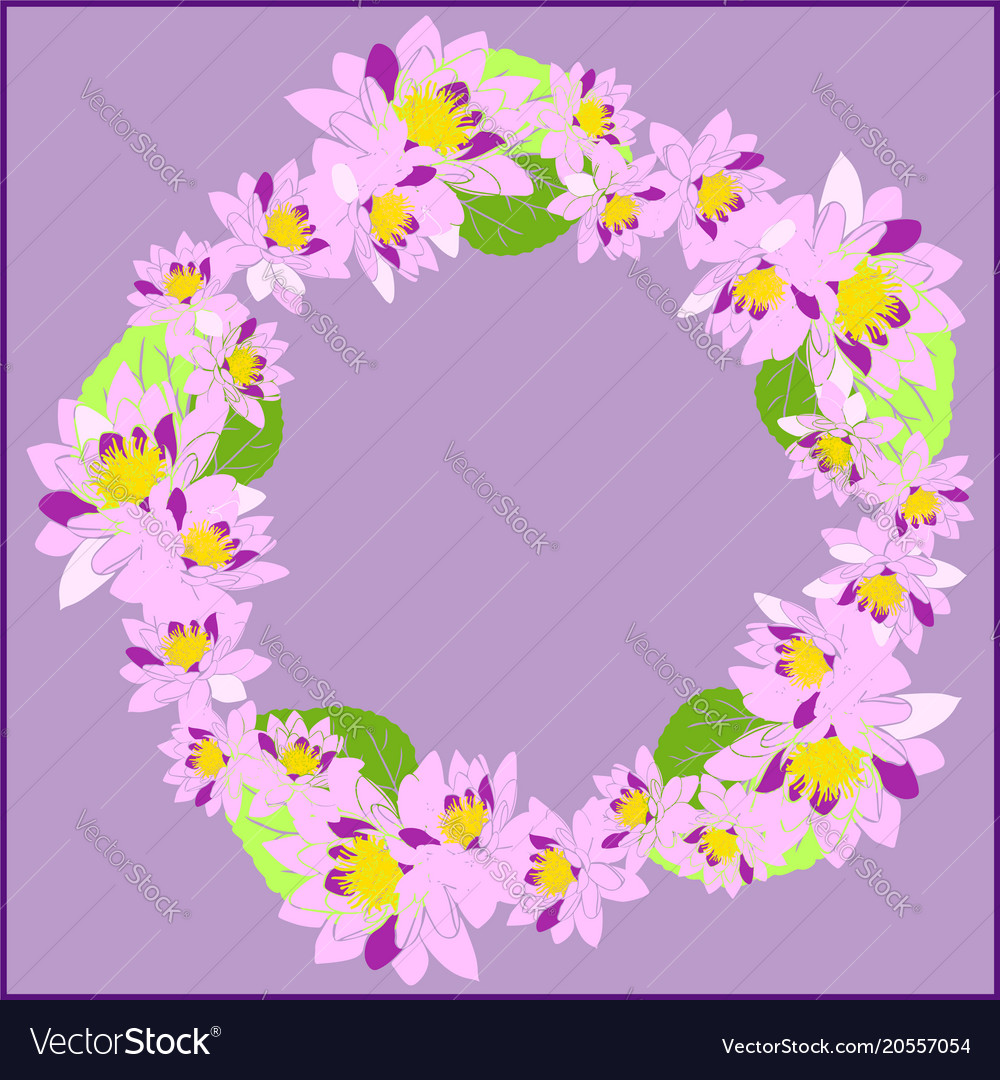 Wreath with pink water lotus and green leaves on