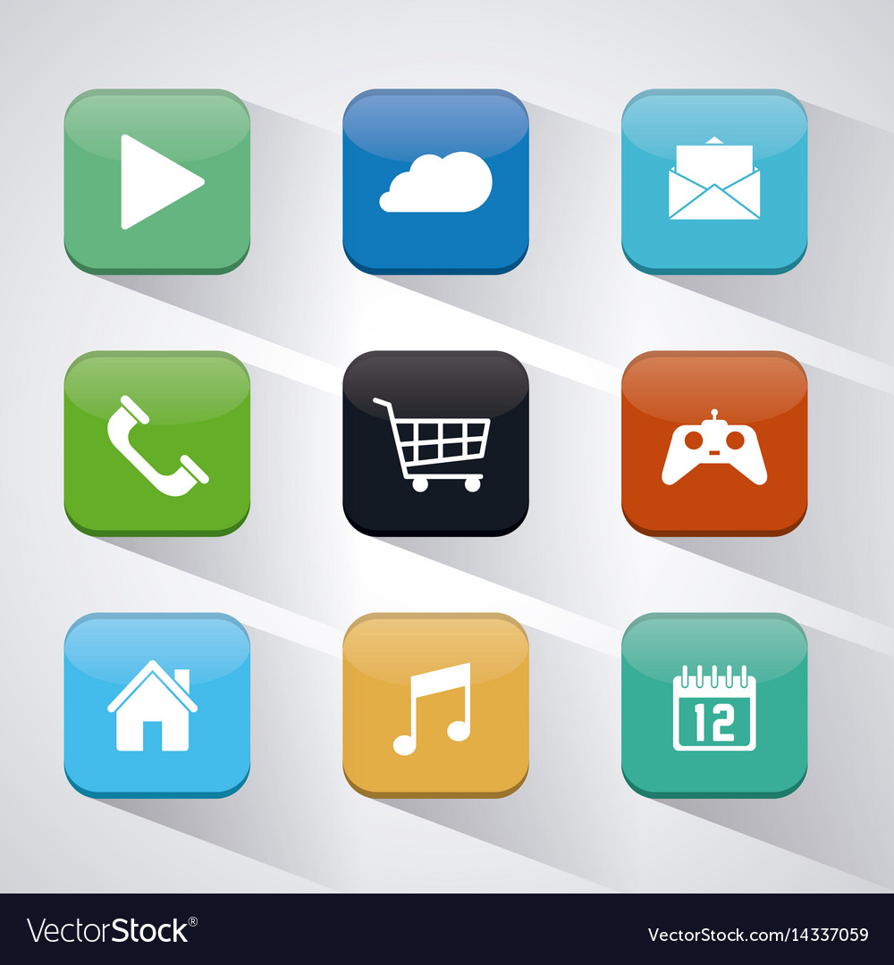 Apps and frames icon set Royalty Free Vector Image