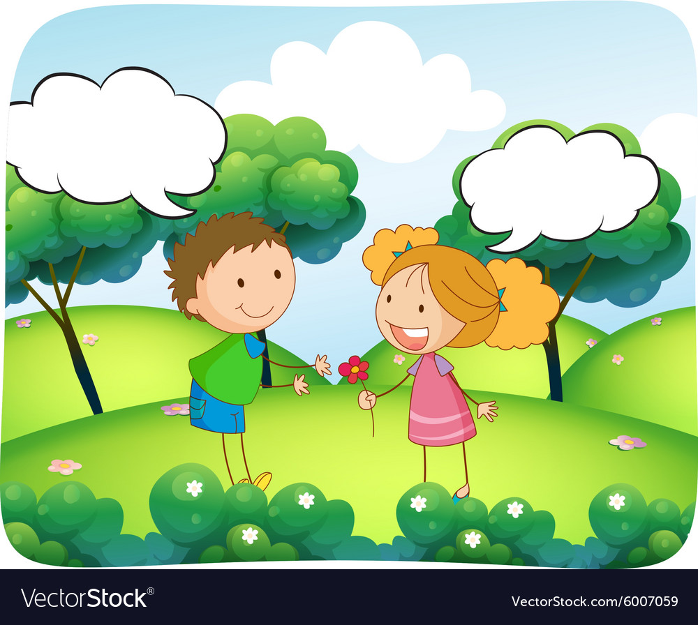 Boy and girl in the park at daytime vector image
