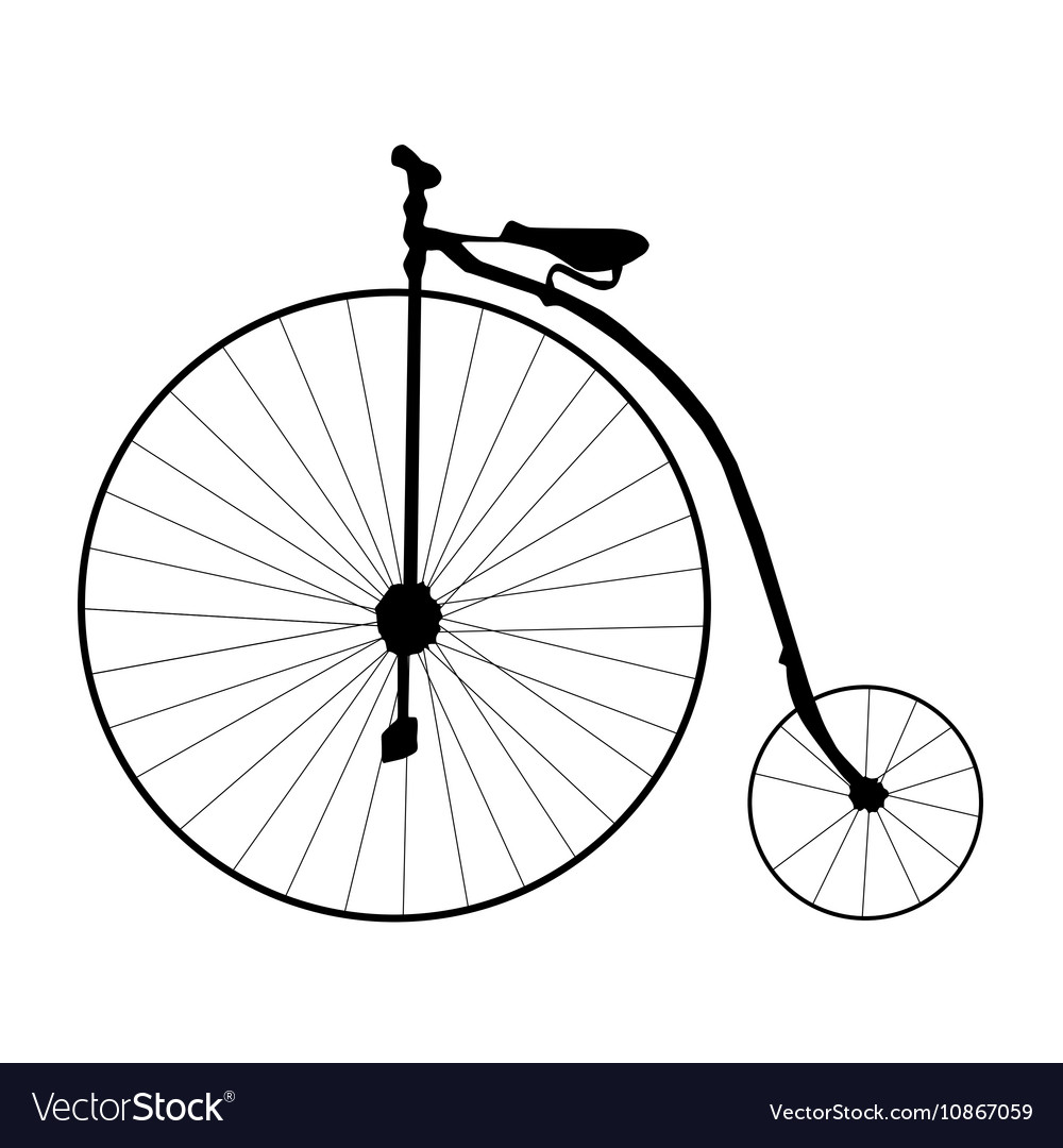 Cartoon retro bicycle on a white background Flat