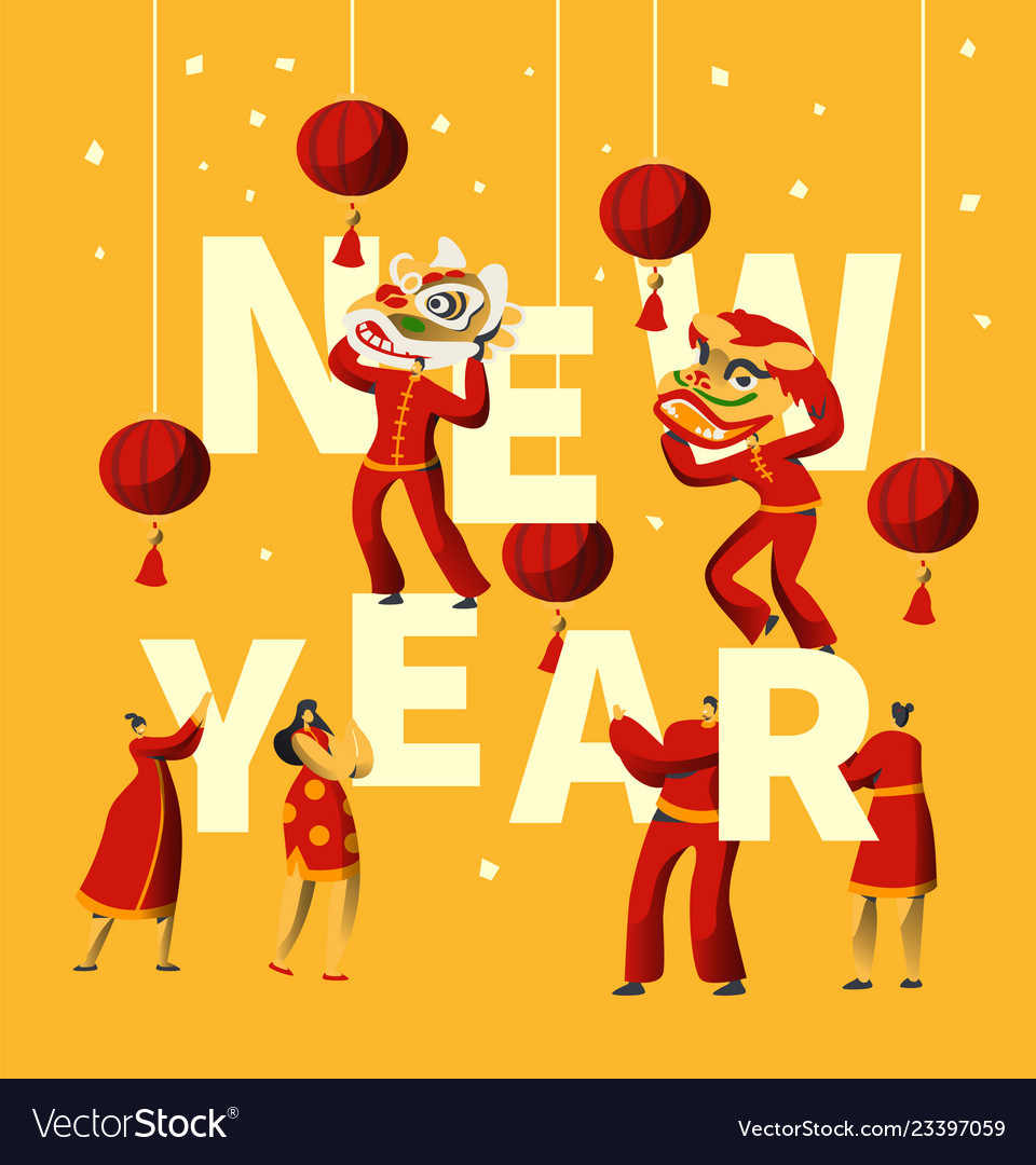 Chinese new year festival typography banner
