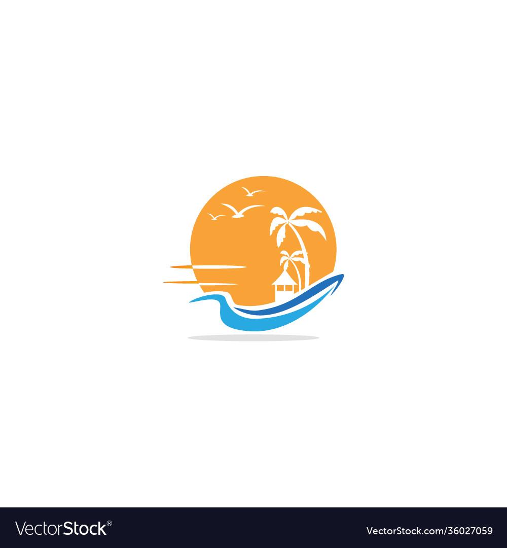 Cottage beach resort palm tree logo