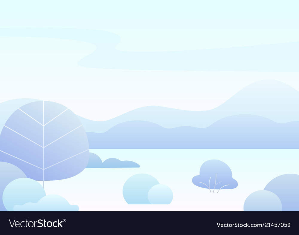 Fantasy simple cartoon winter landscape modern