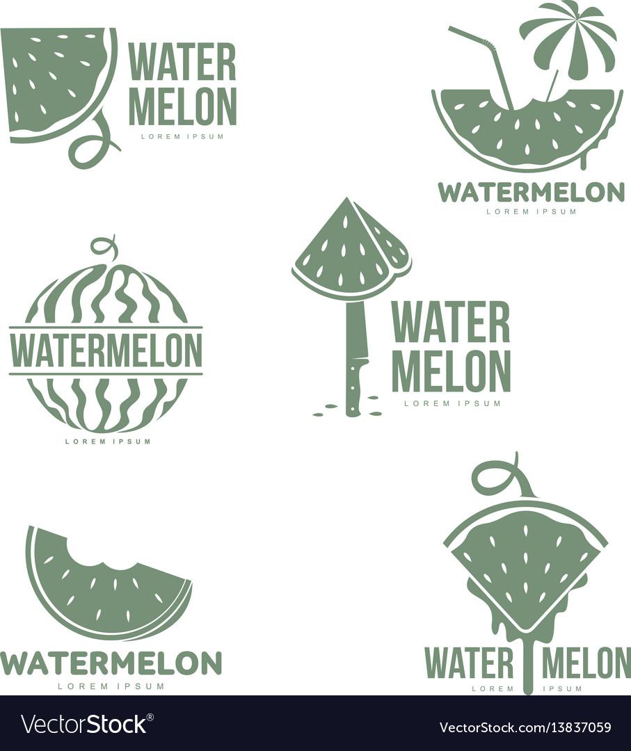 Graphic silhouette watermelon logo templates