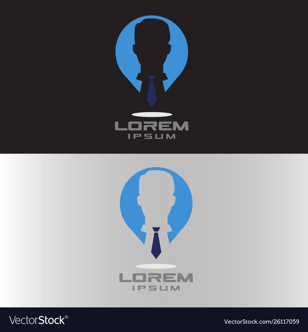 Man with tie in pin logo for work place