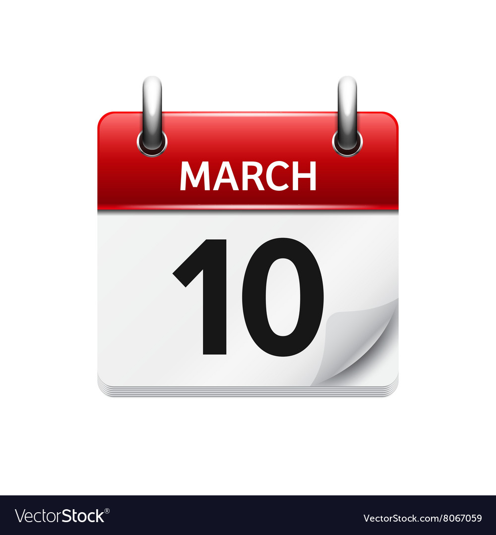 March 10 flat daily calendar icon Date