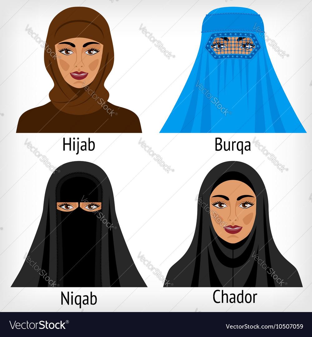 Muslim women in traditional headwear Royalty Free Vector 4cd37aa84c4