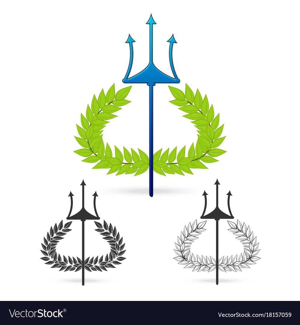 Olive Branch With Trident Symbol Of Greek God Vector Image