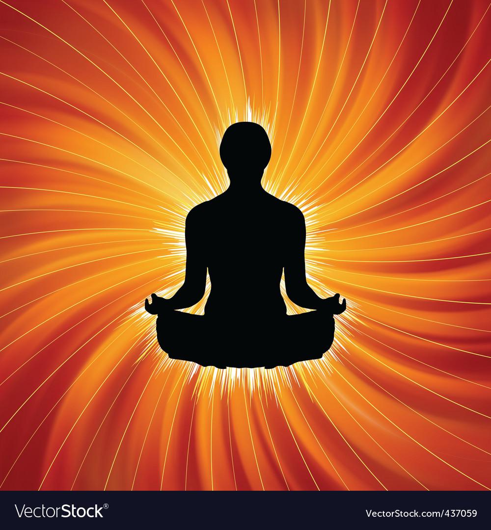 Power Of Yoga Meditation Royalty Free Vector Image