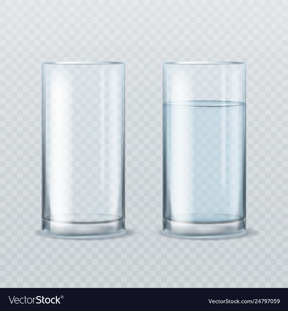 Realistic water glass empty and full clean