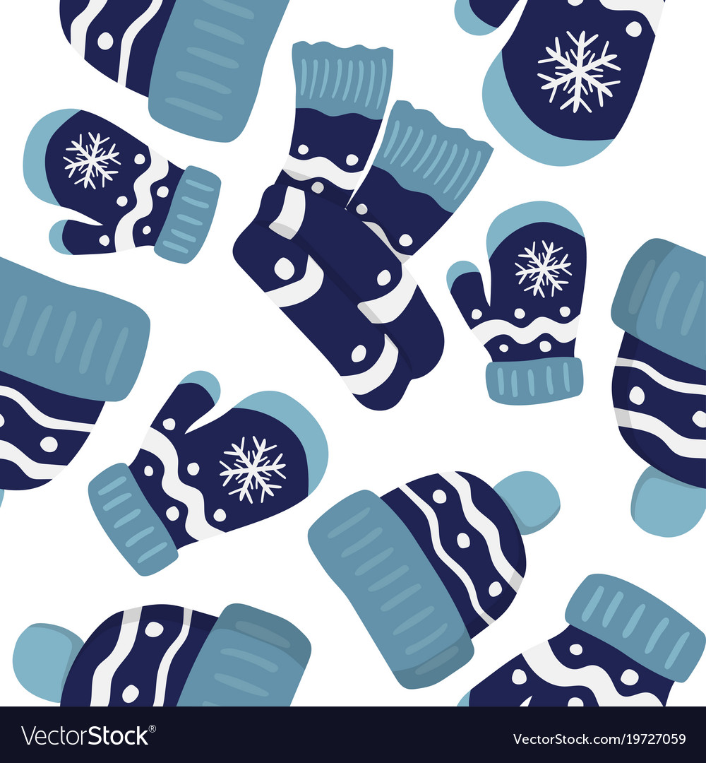 Seamless pattern with mittens cap and scarf