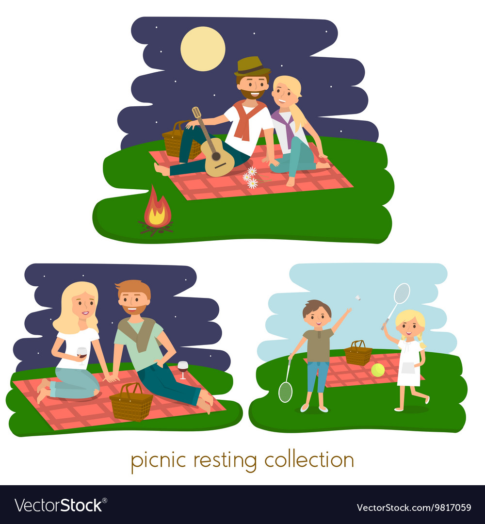 Set of Happy family picnic resting vector image
