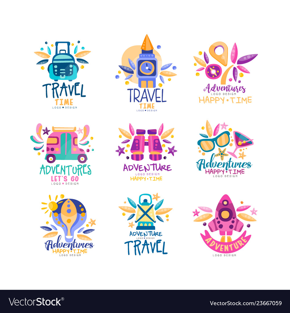 Travel time logo design set summer vacation