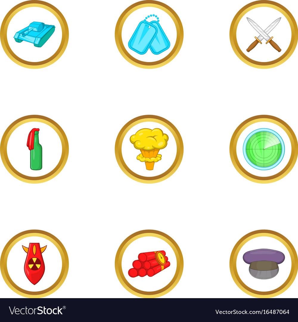 Arms icons set cartoon style