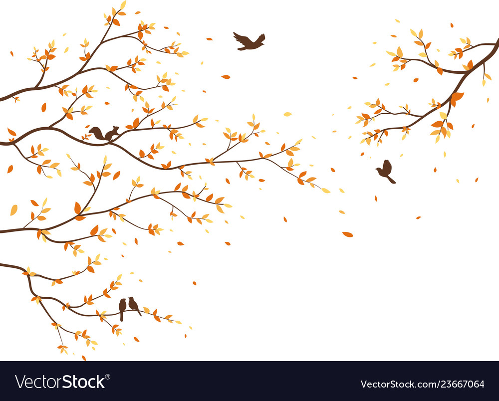 Autumn season with falling leaves with bird