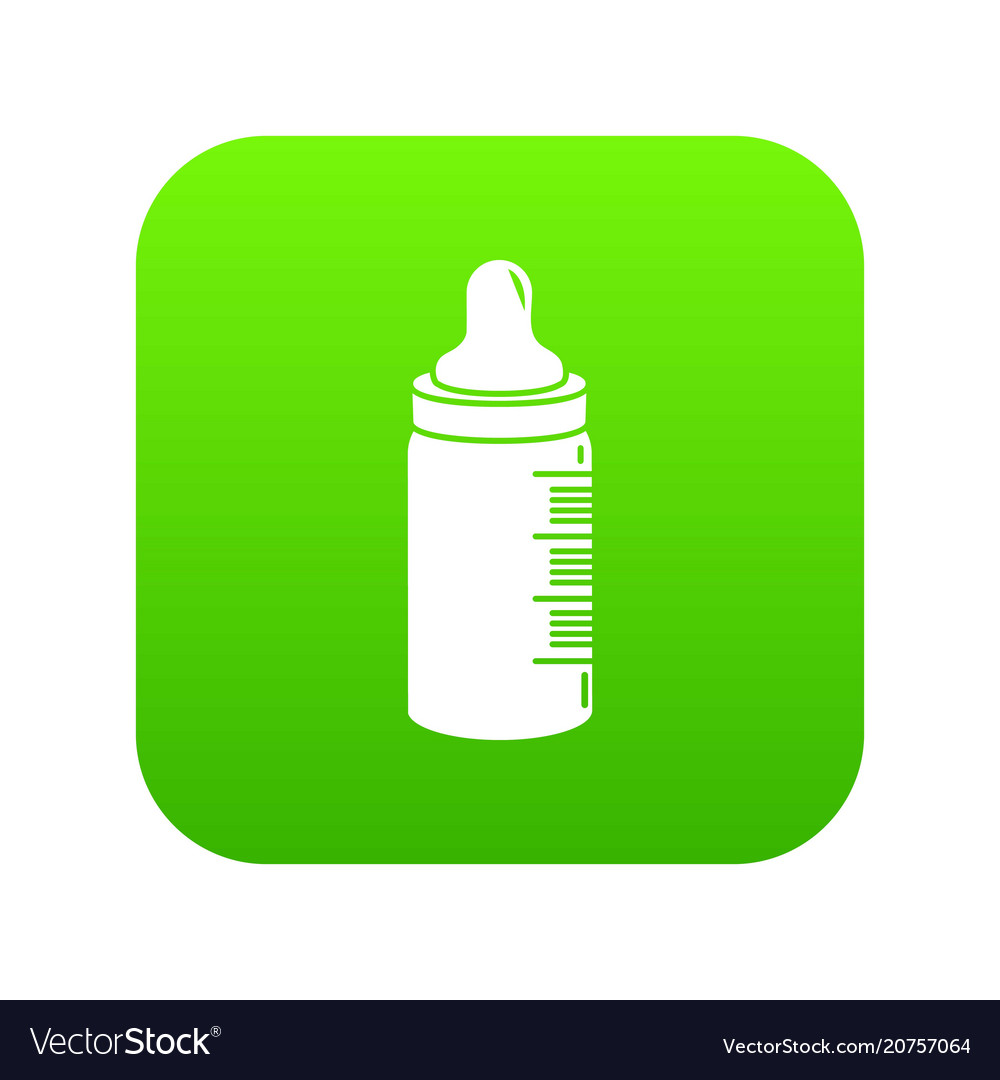 Baby bottle icon green