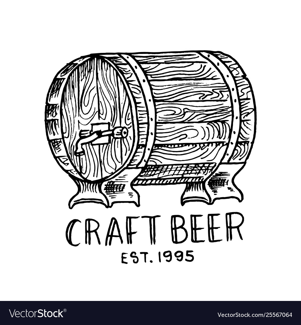Beer barrel in vintage style alcoholic label with