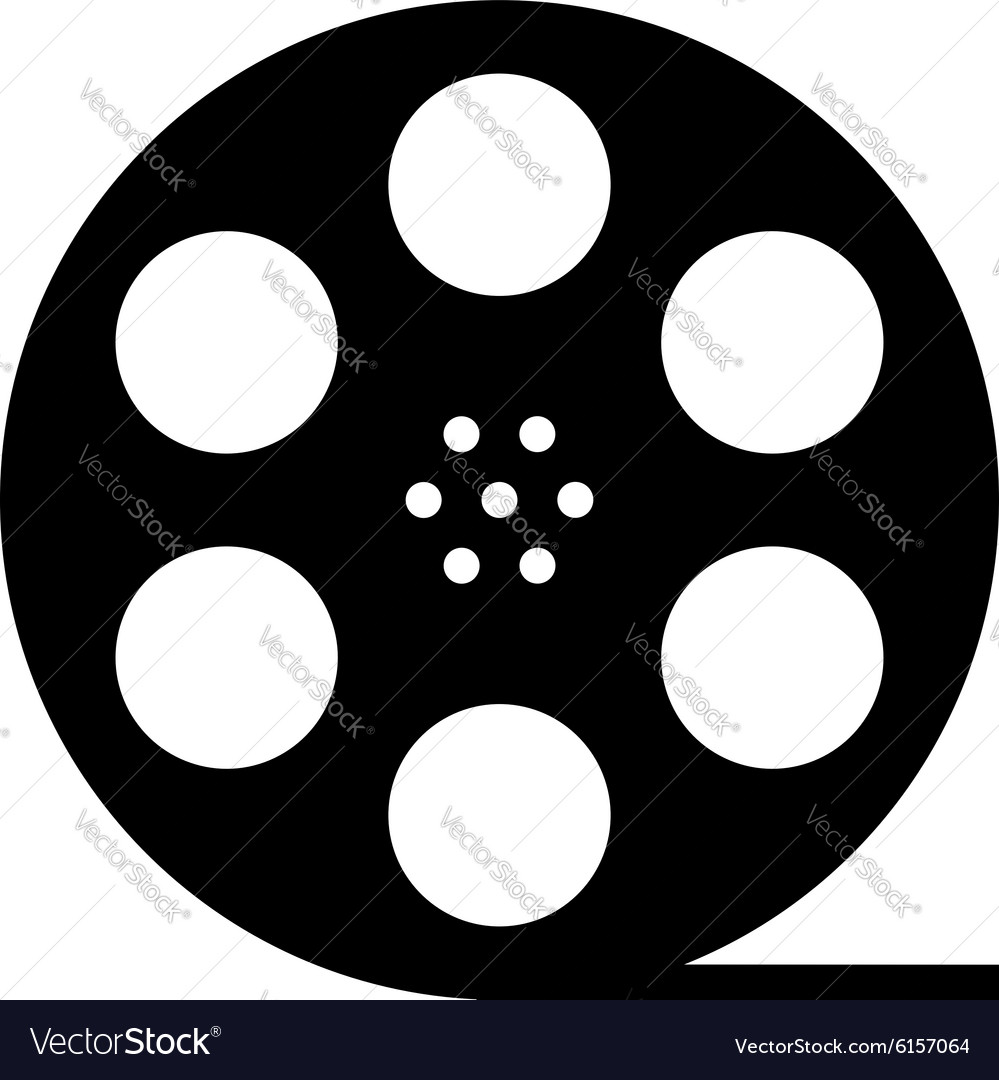 Black film reel silhouette vector image