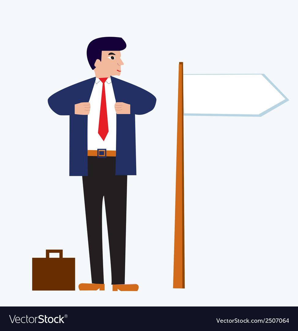 Businessman cartoon with banner