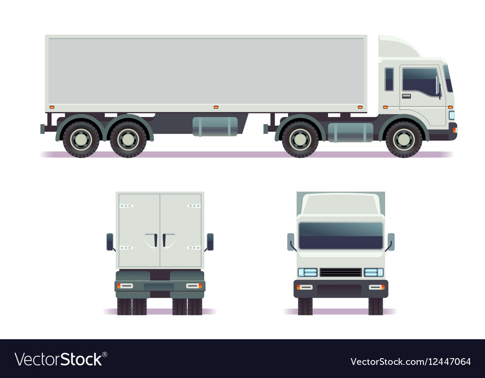 Cargo track in three points of view isolated on vector image