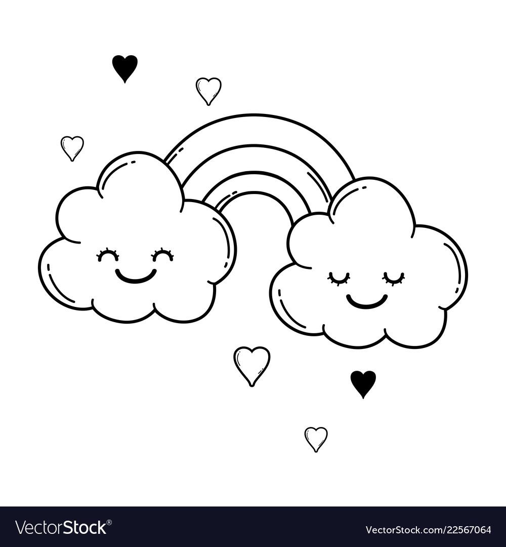 Cloud And Rainbow Cute Cartoon In Black White Vector Image