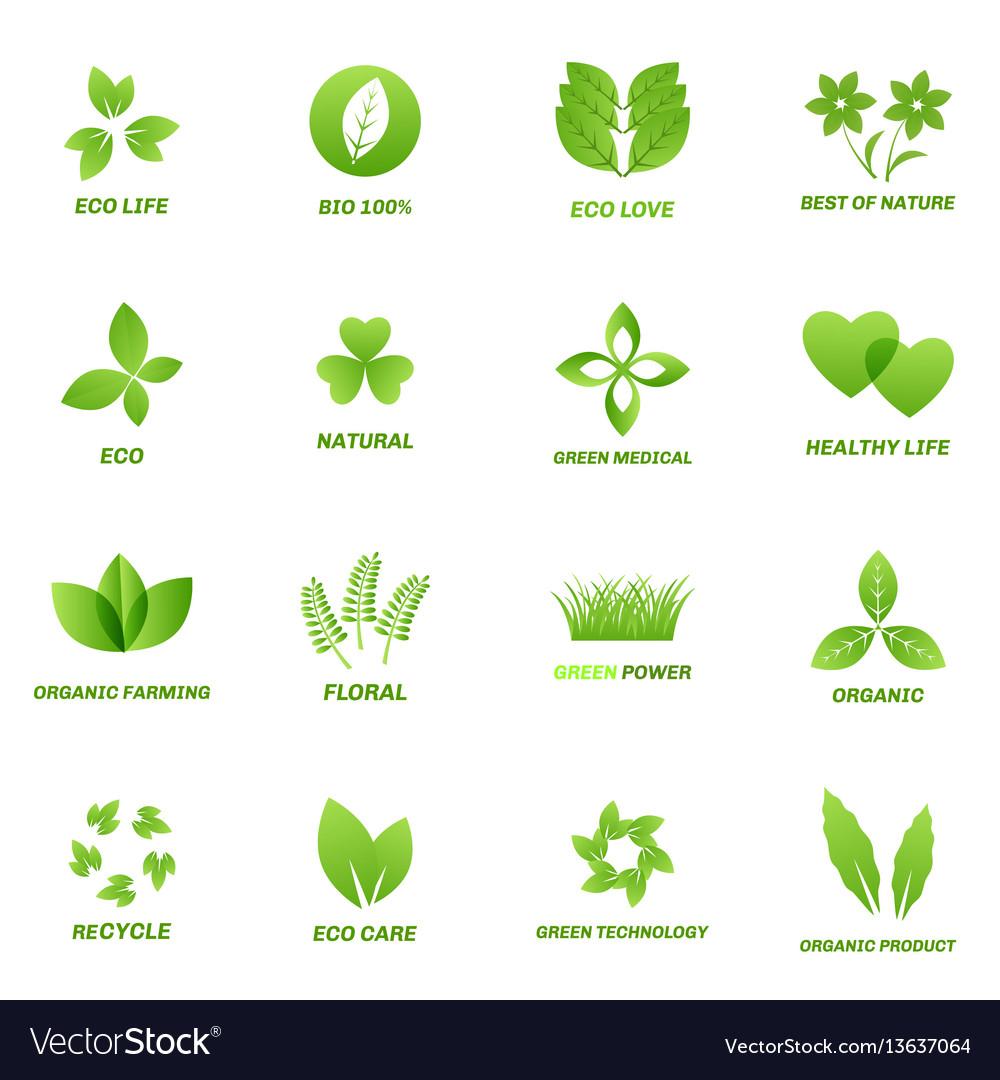 Ecology icon set on white background