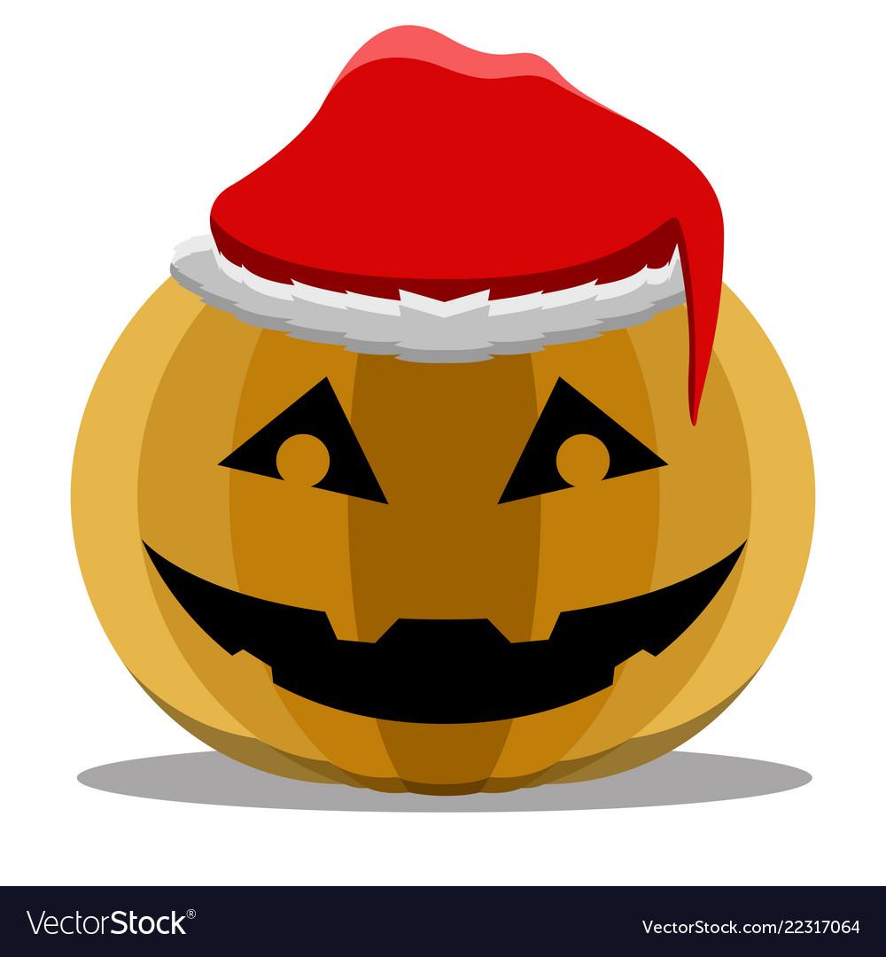 Christmas Halloween.Halloween Pumpkin With A Christmas Hat