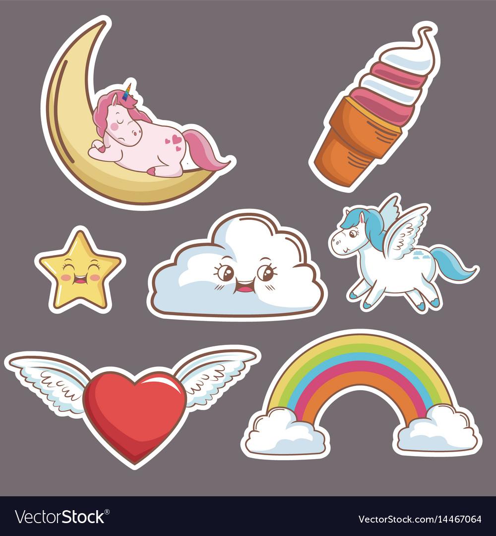 Kawaii cloud heart wings unicorn ice cream moon