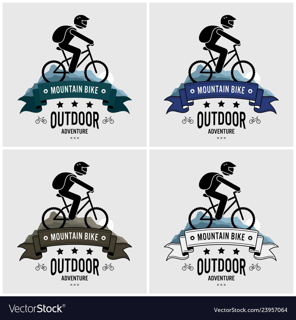 Mountain biking logo design artwork of cyclist