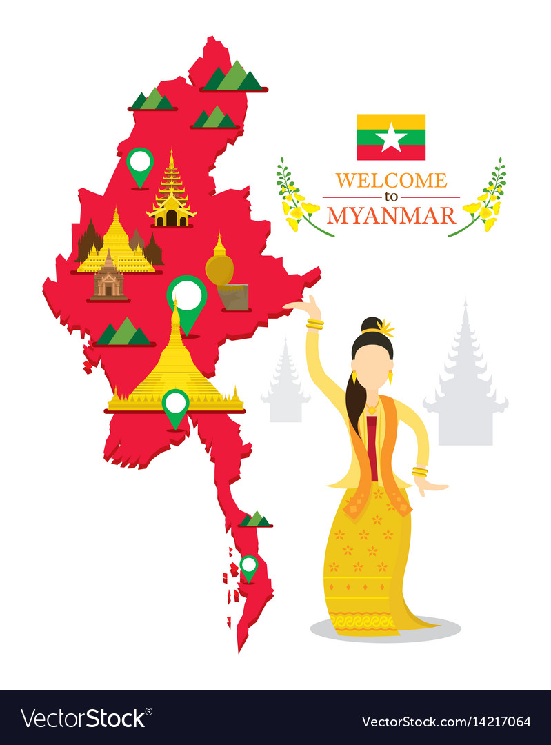 Myanmar map and landmarks traditional dance vector image
