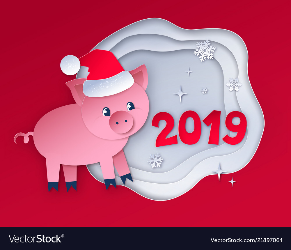 Red colored postcard of new year pig