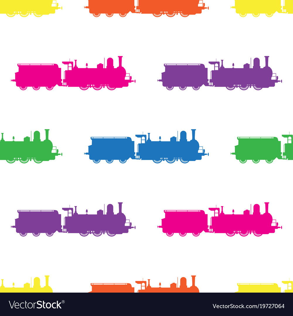 Seamless pattern with colored locomotives on