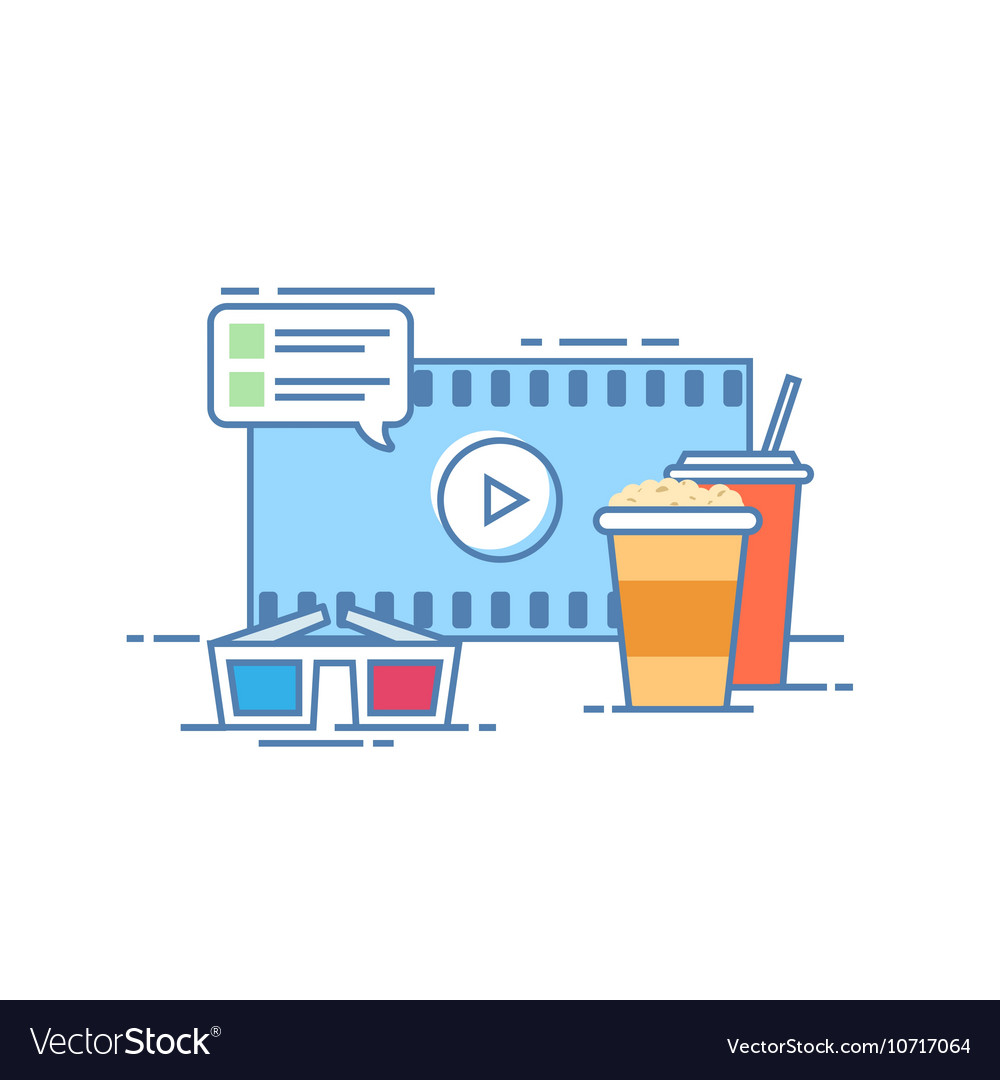 The concept of online cinema Popcorn and a drink