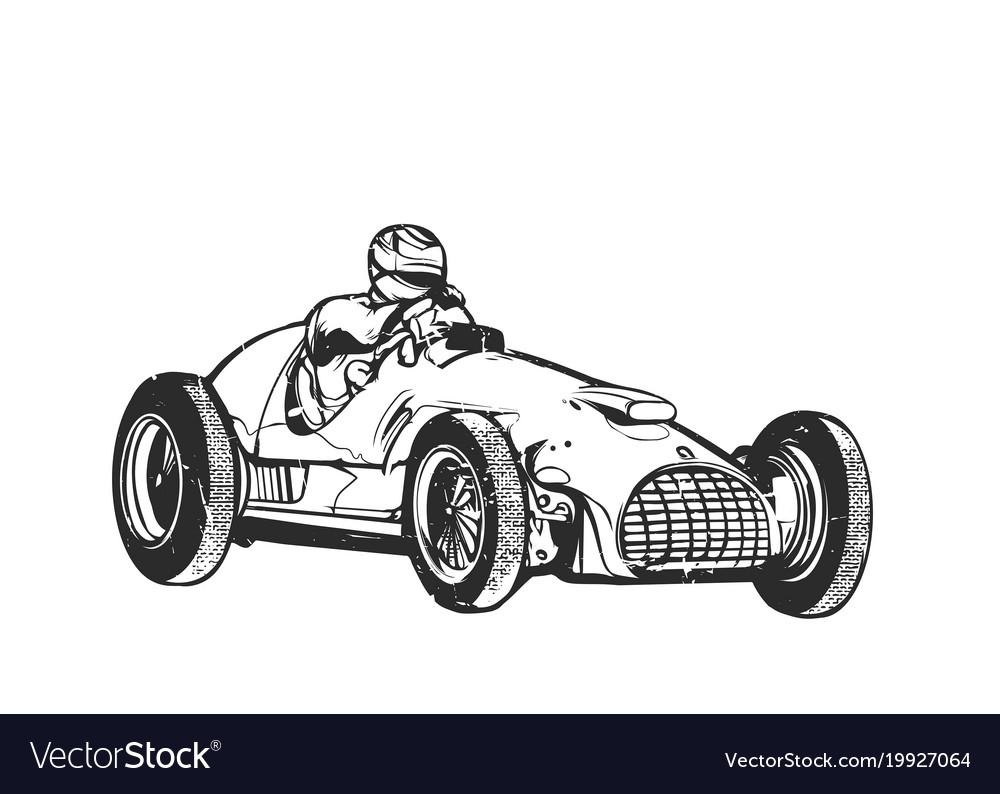 Vintage sport racing car Royalty Free Vector Image